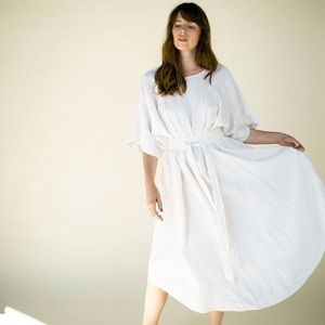 Suunday 100% Linen Ema Gardenia White Dress XS/S
